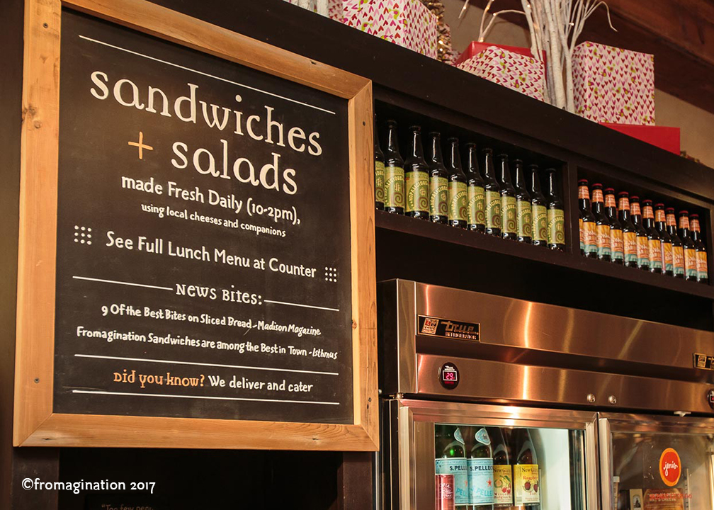 Fromagination's Sandwich & Salad Sign