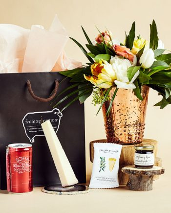 Fromagination features gift bags with Sofia beer