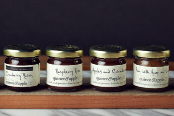 This is a picture of the Quince & Apple Four-Preserves Set from Fromagination.