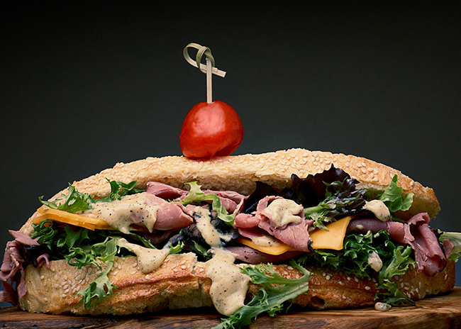 This is a picture of Fromagination's Val D'Aran Beef Sandwich
