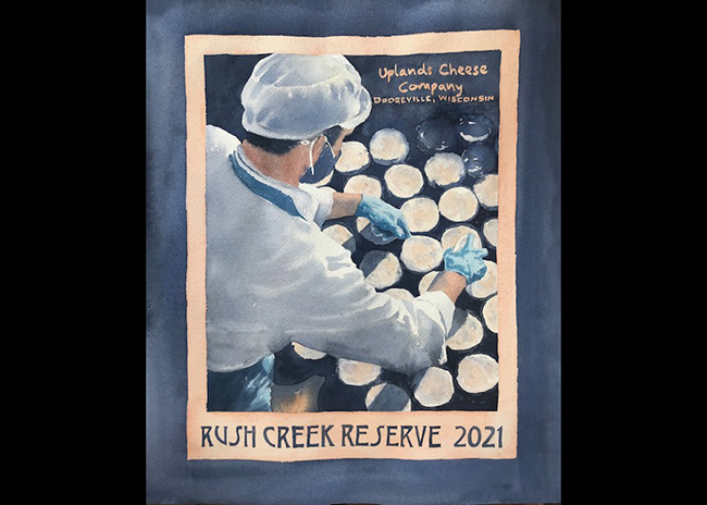 This is a picture of a poster of Rush Creek Reserve cheese, offered by Fromagination.