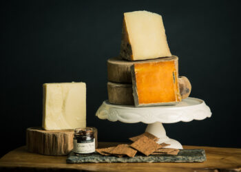 This is an image of the Cheesemonger Basket Gift Set, unwrapped.