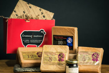 This is picture of the Hook's Aged Cheddars Gift Set from Fromagination.