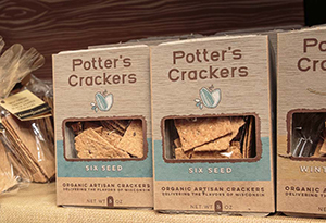 This is a picture of Potter's Crackers boxes, offered by Fromagination