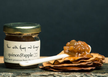 This is a picture of Quince & Apple's Pear with Honey and Ginger Preserves.