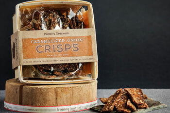 This is a picture of Potter's Caramelized Onion Crisps, featured by Fromagination