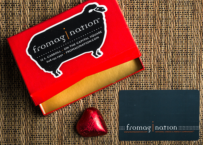 This is a picture of a Fromagination gift card.