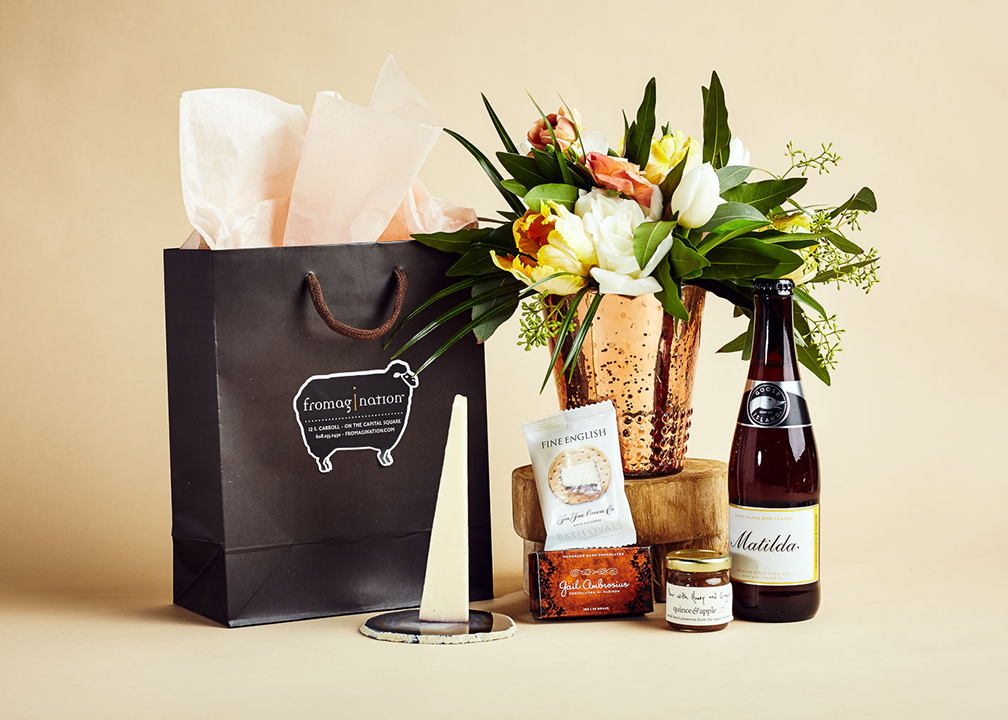 Fromagination features gift bags with Matilda beer