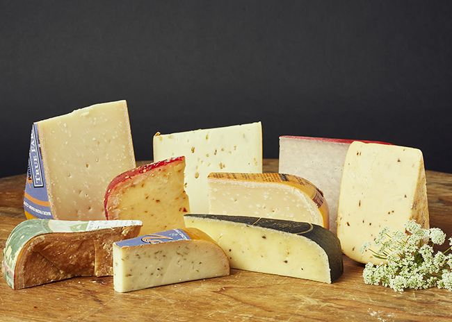 This is a picture of Gouda cheeses, offered by Fromagination.