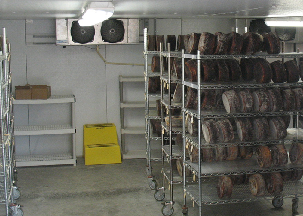 The aging room at Hidden Springs Creamery