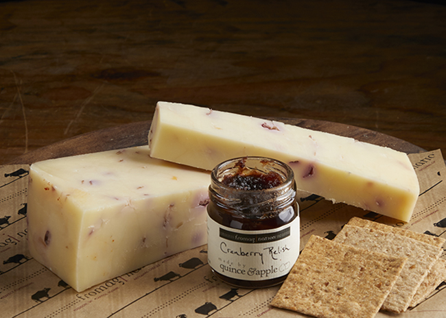 This is a picture of Hennings Cranberry Cheddar cheese.
