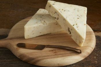 This is a picture of Wild Morel and Leek Jack cheese, featured by Fromagination