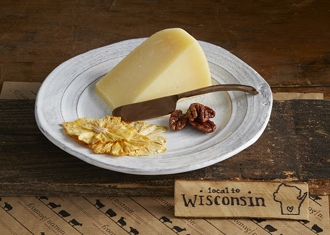 This is a picture of Landmark Creamery's Pecora Nocciola cheese, featured at Fromagination.