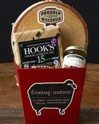 This is a picture of the Hook's 15-Year Aged Cheddar gift set from Fromagination.