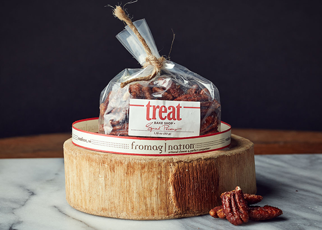 This is a picture of a bag of Treat Spiced Pecans.