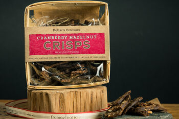 This is a picture of Potter's Cranberry Hazelnut Crisps, featured by Fromagination