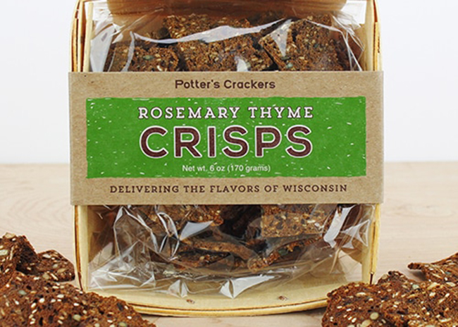 This is a picure of Potter's Rosemary Thyme Crisps, featured at Fromagination