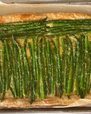 This is a picture of an asparagus puff pastry tart