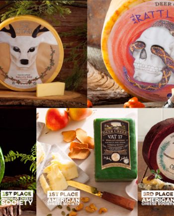 This is a picture of five cheeses in Fromagination's Deer Creek Virtual Cheese Tasting Set