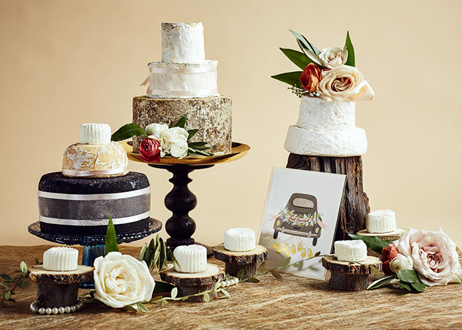 This is a picture of wedding cakes of cheese from Fromagination.