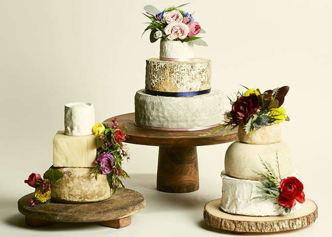 This is a picture of three cakes of cheese from Fromagination.