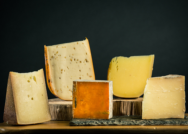 This is an image of five cheeses