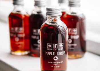 This is a picture of Republic of Vermont's Certified Organic Maple Syrup.