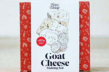 This is a picture of a goat cheese making kit, featured by Fromagination