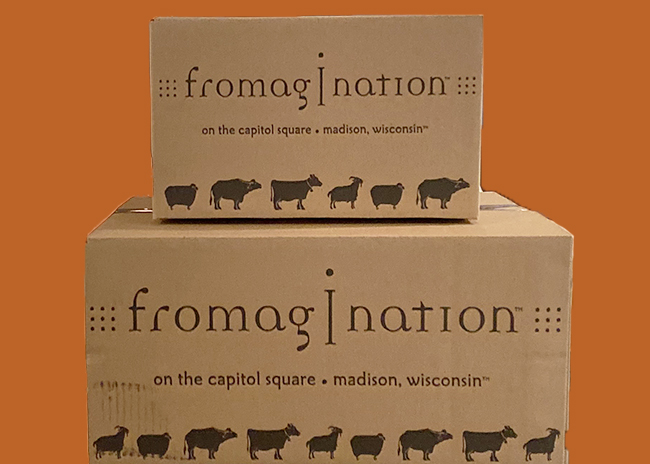 This is a picture of Fromagination's shipping boxes.