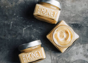 This is a picture of raw honey from Vermont, offered by Fromagination.