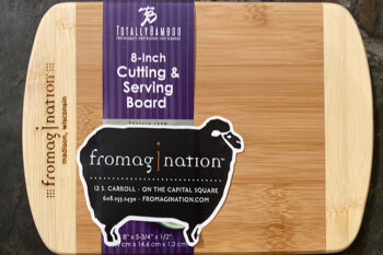 This is a picture of a bamboo cutting board, offered by Fromagination