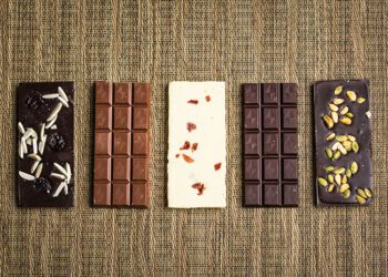 This is a picture of the Gail Ambrosius Chocolates five-bar set, offered by Fromagination.