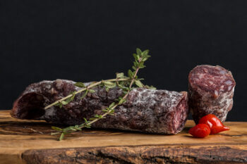 This is a picture of goat salami, featured at Fromagination.