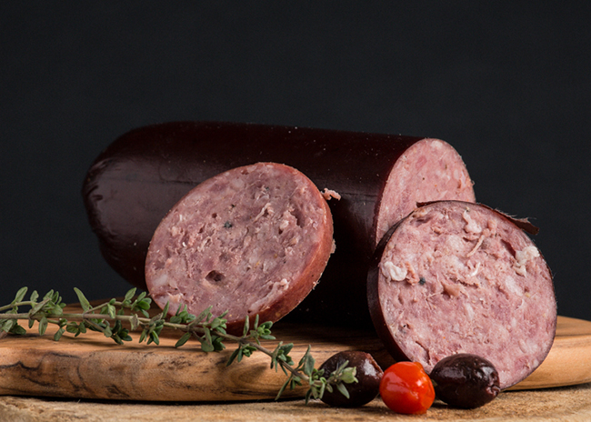 This is a picture of Nueske's Summer Sausage, featured at Fromagination.