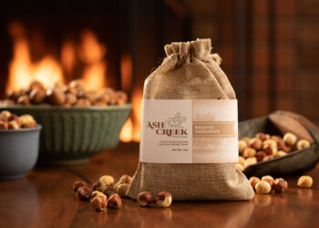 This is an image of roasted hazelnuts by a fire
