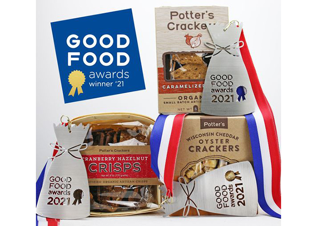 This is a picture of Potter's products that won 2021 Good Food Awards.