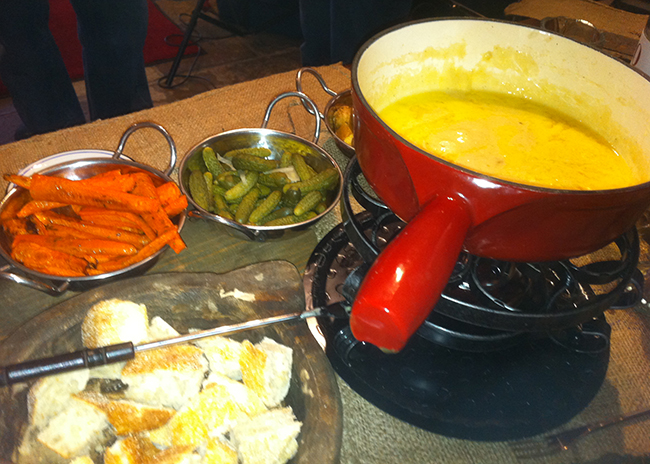 This is picture of fondue meal preparation. Fondue at Home class.