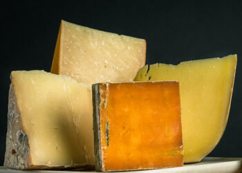 This is a picture of four cheeses for Fromagination's Cheese 101 class.