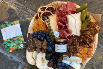 This is a picture of Fromagination's Mother's Day Cheese Tray with Meat
