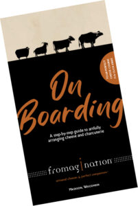 """This is a picture of the cover of Fromagination's cheese board brochure """"On Boarding"""""""