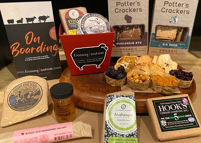 This is a picture of Fromagination's Soiree Cheese Board Kit