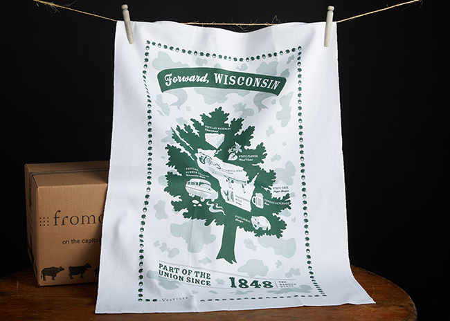 This is a picture of the Forward Wisconsin Towel, offered by Fromagination.