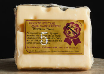 This is a picture of Hook's Five-Year Aged Swiss cheese, featured at Fromagination.