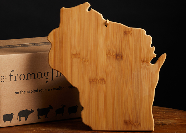 This is a picture of a Wisconsin Cheese Board, offered by Fromagination.