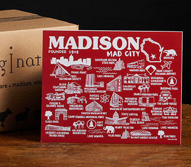This is a picture of a Mad City print, offered by Fromagination.