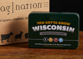This is a picture of a WIsconsin Sports Trivia Game, offered by Fromagination.
