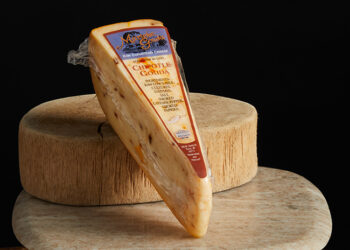 This is a picture of Marieke Chipotle Gouda cheese, offered by Fromagination.