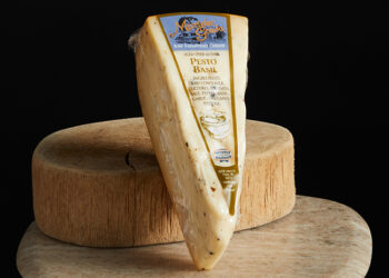 This is a picture of Marieke Pesto Basil Gouda cheese, offered by Fromagination.
