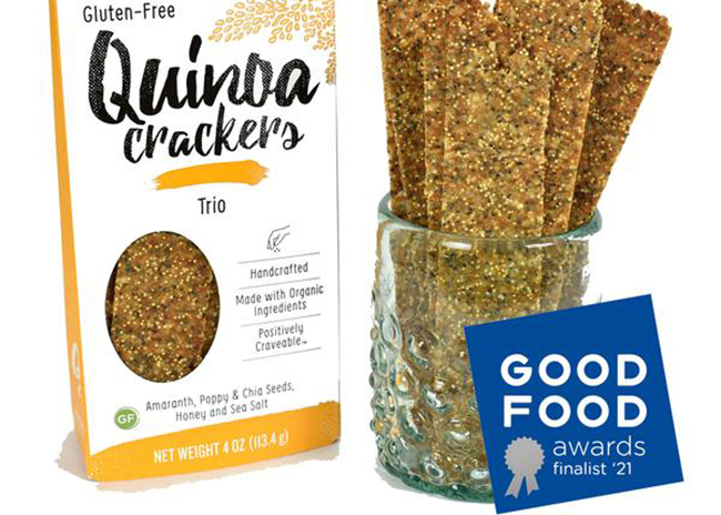 This is a picture of Trio flavor Quinoa Crackers, offered by Fromagination.