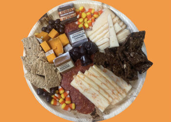 This is a picture of the Halloween Cheese and Meat Tray, offered by Fromagination.